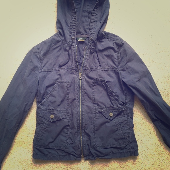 J. Crew Jackets & Blazers - J Crew women's lightweight navy hoodie jacket XS